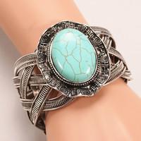 New design vintage Tibet silver round shape weave twist turquoise bangle & bracelets for woman Factory direct sales Z016