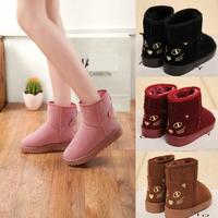 2015 Fashion Cat Ladies Fur Bowtie Winter Autumn Snow Boots Party Warm Ankle Women Boots Flats Shoes Woman M1