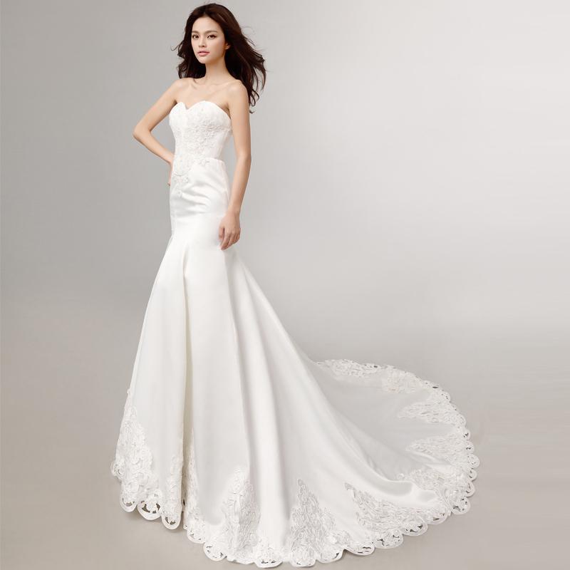 Fashionmermaid wedding dresses with long train Sweetheart Backless Satin Lace Plus Size corset wedding dresses 2015 vestido de n(China (Mainland))