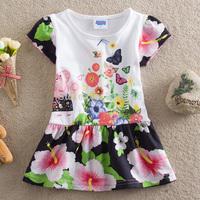 Free shipping 5pcs/lot baby peppa pig dress girls short sleeve cartoon dress girl European American floral dress 2-6year