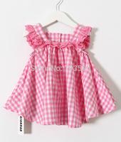 2015 Children Plaid Back Buttons Dress, Baby Girls Cute Cotton Summer Clothing Pink Light  Blue  5 pcs/lot,Wholesale
