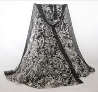 WJ100 Woman 2015 Scarf Long Arab Hijab Cashew Flower Twill Print Silk Voile Cotton Scarves 5 Colors Fashion Shawl Wrap190cm*95cm