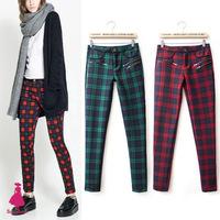 2015 Fashion British Vintage Women Plaid Check Contrast Color Pencil Pants Trousers New Arrivals