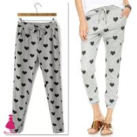 New Spring Autumn Women's Fashion Heart Love Print Elastic Waist Slim Harem Pants Ladies Casual Sport Trousers 2015 Gray Hot