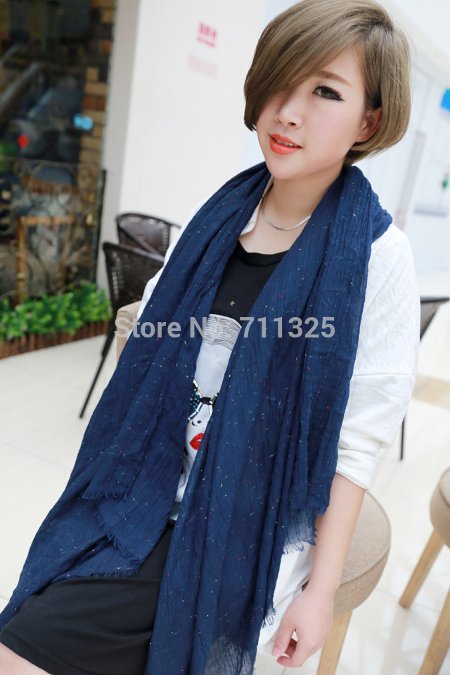 New Soft Plain Colorful Dot Embroidery Nice Feel Scarf Wrap 180*90 Large Size(China (Mainland))