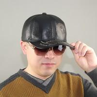 2015 genuine leather hat male winter warm hat ear original design baseball cap quinquagenarian leather hat