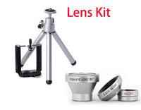 MINI Tripod +Holder Magnetic 3 in 1 mobile phone lens 0.67xWide Angle Macro 180 Fish Eye lens camera Kit Set for iPhone 6