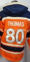 2014-15 Stitched Denver 80 Julius Thomas Orange  Football  Hoodies Sweatshirt Winter Jacket Size:48-56