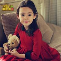 2015 girl dress children dress solid color long sleeve spring girl dress princess korea style children dress kids clothe