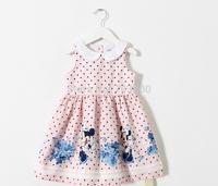 2015 Children Mickey Dot Vest Dress, Baby Girls Cartoon Cotton Summer Clothes 5 pcs/lot,Wholesale