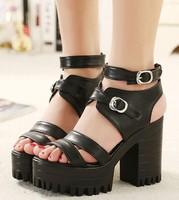 black fashion belt buckle platform shoes woman open toe sandals for women shoes summer ladies pumps thick high heels GL150001