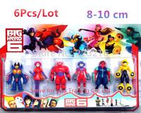 6pcs/set Animation Cartoon Cool Big Hero 6 Hiro/Baymax/Go Go/Wasabi No Ginger 8cm-10cm PVC Figure Toy Set  Free shipping