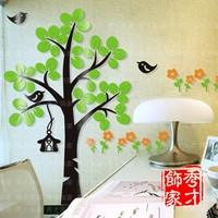 Big Tree Bird Flower 3D Crystal Acrylic three-dimensional Wall Stickers Home Decor Entranceway Kid Room Sofa Wall Decor