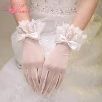 2015 bride wedding dress wedding gloves lace decoration short design white bow winter