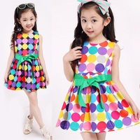 2015 Korean baby Girls Dresses Bohemia Dot Sleeveless Chiffon Girl Dress For Party Kids Clothes Vestidos infantis LC20