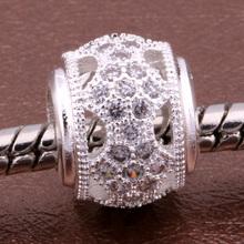 Z090 925 sterling silver DIY thread CZ Crystal Beads Charms fit Europe pandora Bracelets necklaces /gyjappqa