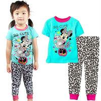 hot sale leopard printed fantasia cartoon baby kids girls sleepwear fashion summer children sleepwear pajama sets