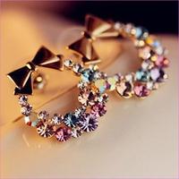 Hot Sale  2015 New Fashion Earings For Women Colorful Rhinestone Butterfly Bow Earrings Vintage Jewelry ,Crystal Earring
