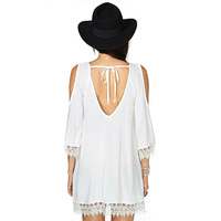 FYOUAI NEW 2015 Sexy Off Shoulder Spring Women Blousa With Long Slleve Summer Solid Lace Chiffon Shirts Tops For Women