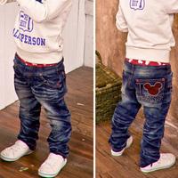 Unisex kids Mickey head Jeans casual pants,1590