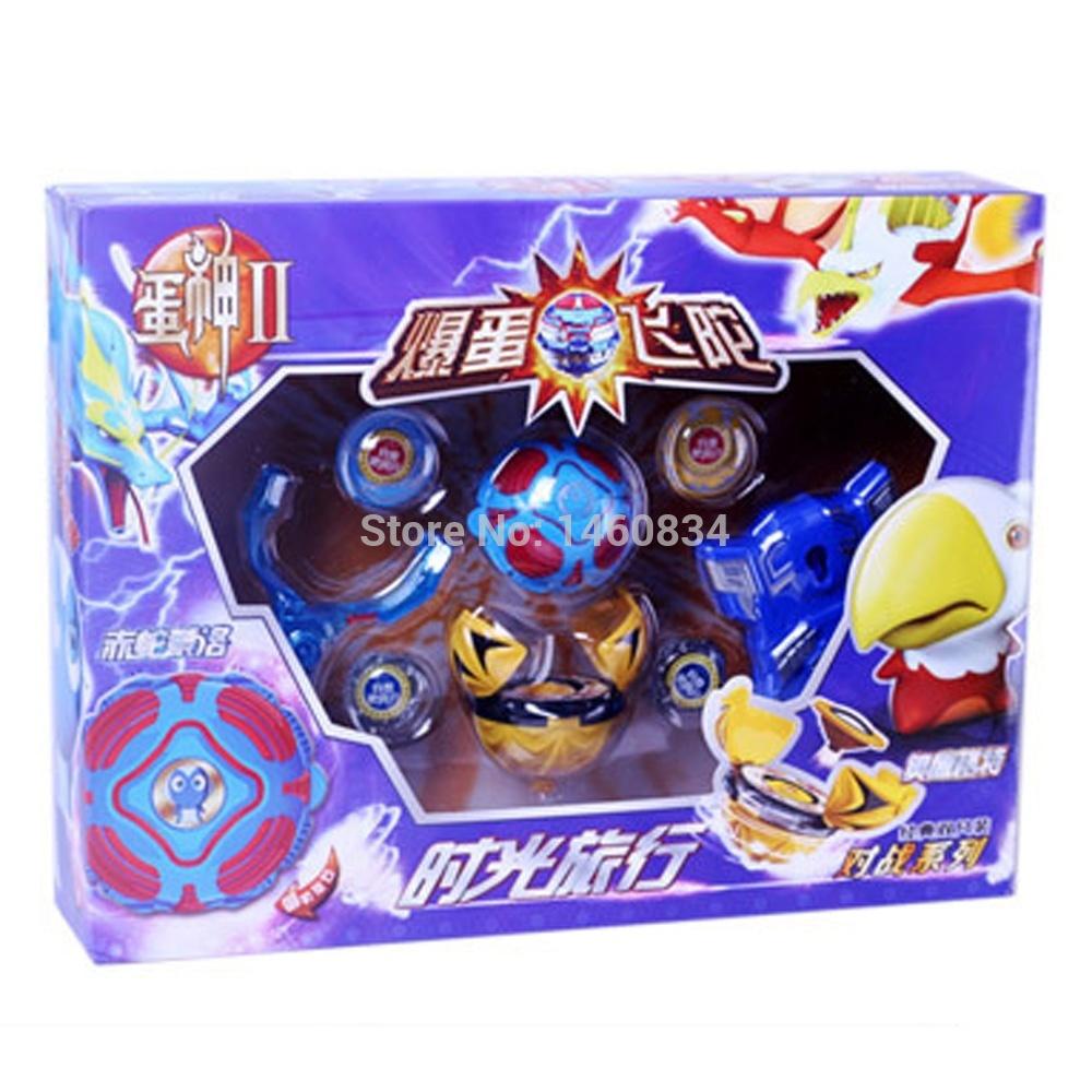 Genuine Egg God 2 Bomb Blast Egg Flying Gyroscope Spinning Top Toy Set of 2 for Kids- Oku Eagle Gert vs Red Snake Meng Luo(China (Mainland))