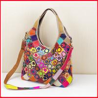 New Women Handbag Genuine Leather Bag Flowers Pattern Shoulder Bags Bolsas Femininas Crossbody Tote Fashion Women Messenger Bags