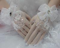 Bride lace rhinestone gloves paillette gloves bride short design gloves wedding dress gloves formal dress accessories