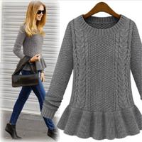 Fashion women's 2015 vintage skirt twist slim thickening basic sweater outerwear sweater female