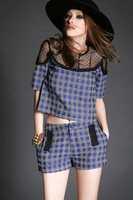 Free shipping fashion o-neck short sleeve lace print blouse tops shirt+short pant suits wholesale va1843