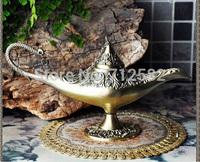 table lamp European aladdin lamp vintage home decor feng shui dark golden antique brass coating handmade