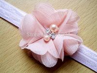 500pcs/lot Chiffon Flower Headband with Rhinestone and Pearl in Center