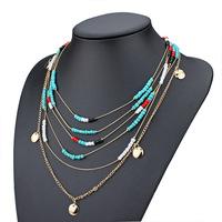 Fashion BOHO Jewelry for women Turquoise beads Layers Chains Choker Bib Statement Necklace