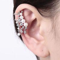 Pearl Ear Cuff Earrings Gothic Punk Wrap Clip on Cartilage Ear Upper Studs Gold/Silver No Pierced Jewelry Accessories Women