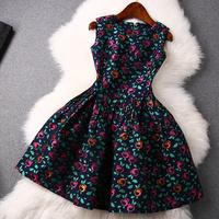 2014 news high quality Flowers embossed jacquard dress women dress