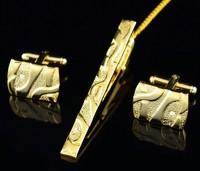 Retail Luxury Men's Shirt Tie Clip And Cufflinks Golden Silver Cuff Links Cufflink Tie Clips For Men Wedding Gift