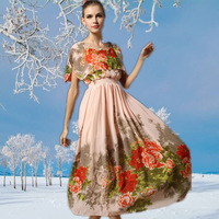 2014 new autumn dress in Europe and the United States women's major suit slim splicing temperament Floral Chiffon Dress