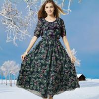 The European station 2014 autumn winter new Korean printing slim slim Floral Chiffon Dress Dress