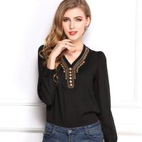 Spring blusas femininas 2015 new V-neck women blouse long sleeve shirt fashion vintage copper chiffon shirt Plus Size CS104