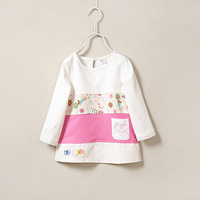 New Children Clothing Spring and Autumn Girls Tri-color stitching printed Lovely Cartoon Rabbit children Cotton Blouse