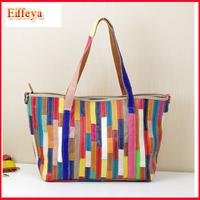 Holiday Sale!Ladies 100% Real Leather Shoulder Bags Fashion Desigual Patchwork Handbags Brand Stripe Purse