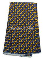 Nigerian Quilting Real Wax Cloth Royal Blue Yellow 100% Cotton 6 Yards rw470509