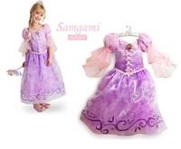 New 2015 Lantern Sleeve Sophia Princess Dress Girls' Top Purple Lace Printed Long Party Prom Dress Free Shipping