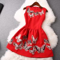 2014 news high Butterfly embroidery lace dress women dress
