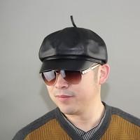 Classic genuine leather hat male quinquagenarian octagonal cap sheepskin warm hat dr. cap