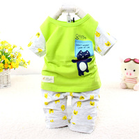 2015 New baby character cat summer suit casual short sleeve chidlren clothing set 7016
