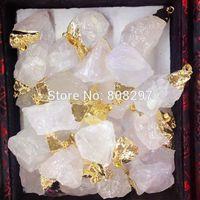 24k Gold plated Edge Druzy drusy quartz Pendant in White Color Jewelry Finding 10pcs