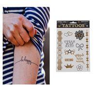 Hot Sale Unisex Metallic Removable Happy New Year Temporary Tattoo Stickers Body Art Waterproof Tattoon 65374