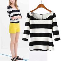 #YZX-FAF Spring Summer women shirt t-shirt crop top casual women half sleeve Striped pullover t shirts