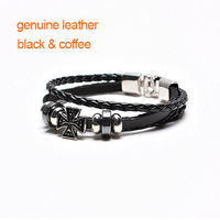 genuine leather cross bracelet for men,black punk braided bracelet men with rivets,good quality men bracelet jewelry