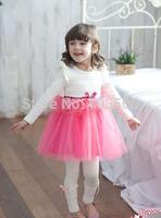 2015 Baby Girls Spring Cotton Puff Sleeve Mesh Tutu Ruffles Dress , Children Bow Clothing Pink Blue, 5 pcslot, Wholesale